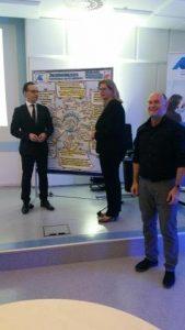Heiko Maas Außenminister vor visualisiertem Wokshop Bild