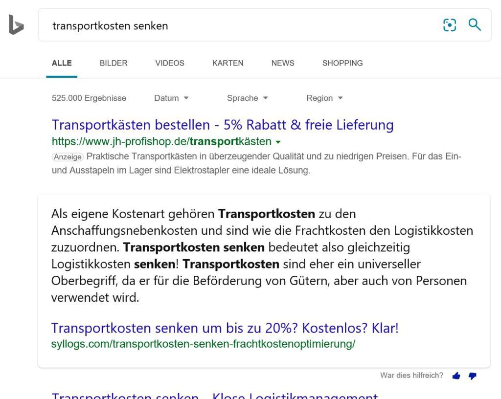 Ein Ausschnitt eines Suchergebnisses nach Eingabe Transportkosten senken